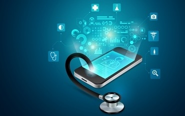 concept of telemedicine or e-health, graphic of realistic smart device with stethoscope reaching out from the screen